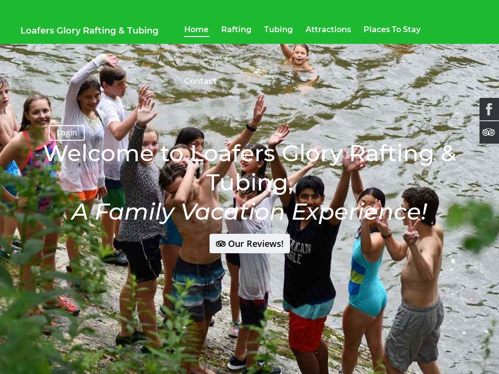 Loafer's Glory Rafting & Tubing website